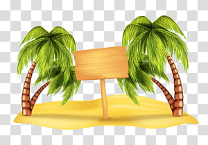 brown signboard between green trees , Beach Arecaceae , Wooden sign and coconut trees illustration PNG