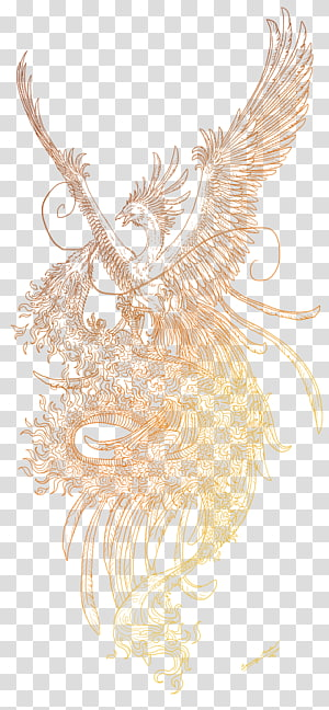 yellow phoenix painting, Tattoo Tatouages Traditionnels Phoenix Irezumi Sketch, Phoenix PNG