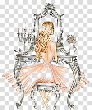 Drawing Fashion illustration Illustration, Dress Girl, woman sitting in front of mirror PNG