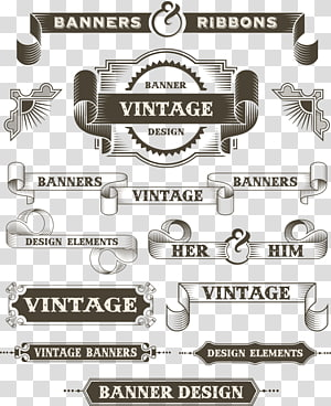 Banners Ribbons advertisment, Paper Drawing Banner Illustration, retro border pattern PNG clipart