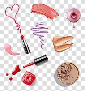 lipstick, nail polish, and foundation illustration, Cosmetics Lipstick Foundation Eye liner Make-up artist, Lipstick Nail Polish PNG clipart