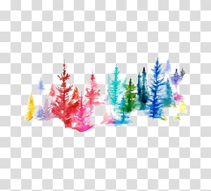 trees illustration, Watercolor painting Printmaking Illustration, Watercolor forest PNG clipart