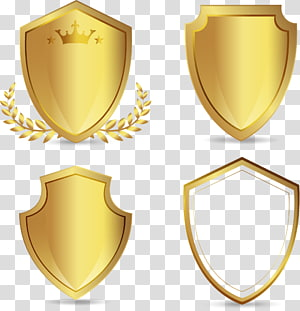 four gold shield logos, Euclidean , hand-painted golden shield PNG
