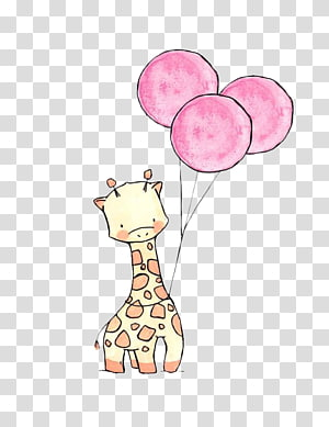 giraffe with tree balloons drawing, Paper Drawing Art Watercolor painting Illustration, Giraffe Balloon PNG clipart