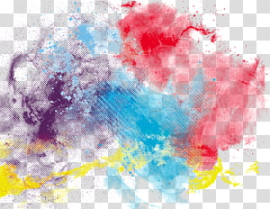 Watercolor painting , Colorful ink, red, blue, purple, and yellow abstract painting PNG clipart