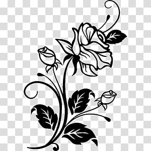 black petaled flower , Drawing Rose Cdr , personalized car stickers PNG