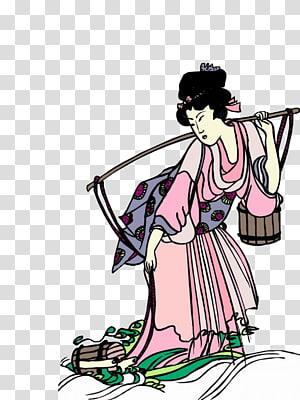 Japan Woman Child, Japanese Geisha PNG