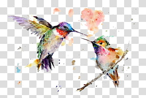 two green hummingbirds illustration, Hummingbird Watercolor painting Drawing Art, painting PNG