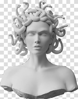 white concrete medusa headbust, Foamo Medusa Gorgon City Imagination, others PNG