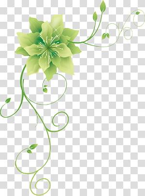green flower art, Green Flower, Green flower PNG clipart