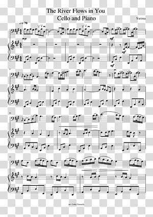 Sheet Music Orchestra Cello River Flows in You Piano, sheet music PNG clipart
