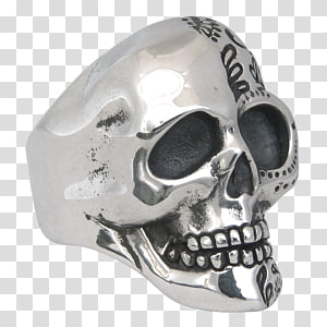 Silver Skull, Rose for stamp tshirts PNG