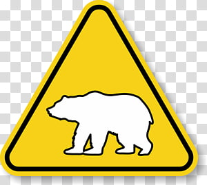 Polar bear Traffic sign Warning sign, bear PNG