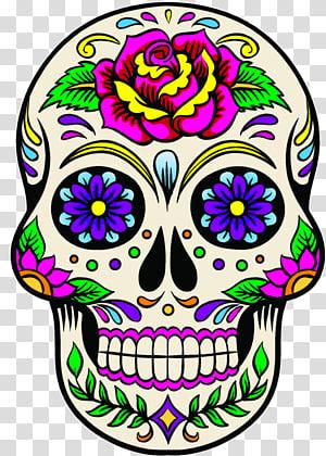 Calavera Mexican cuisine Day of the Dead Death Floral Ornament, Calavera Mexican PNG