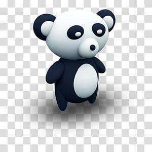 black and white panda , computer teddy bear carnivoran, PandaPorcelaine PNG