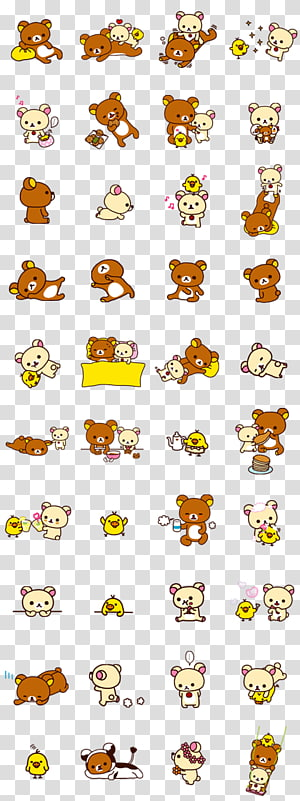 assorted bears illustration, Rilakkuma Sticker LINE Imagineer Bear, line PNG clipart