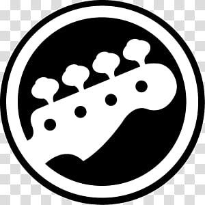 white and black guitar head logo, Rock Band 4 Bass guitar Musical Instruments, flea PNG