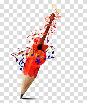 Drawing Pencil Musical note Sketch, creative guitar poster PNG