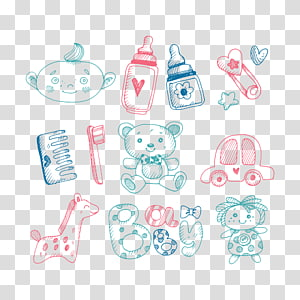 baby's assorted toys , Drawing Toy Infant, Baby Sketch PNG clipart