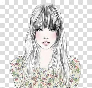 Bangs Drawing Hairstyle Fashion illustration, Pretty woman painted PNG clipart