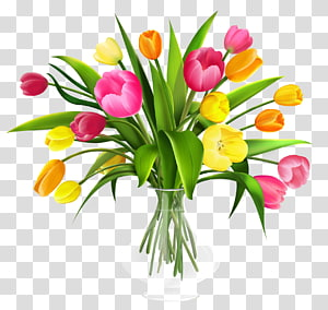 Tulip Flower bouquet , Vase with Tulips , yellow and pink tulips arrangement illustration PNG clipart