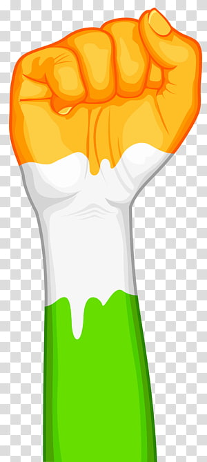 orange, white, and green right fist poster, Indian Independence Day Republic Day January 26 , India Fist PNG clipart