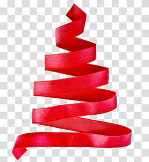 creative christmas tree with red ribbon PNG