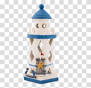 white and blue lighthouse figurine, Lighthouse White and Blue Toy PNG