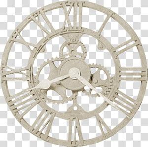 beige skeleton clock, Clock Steampunk Gear Wall Movement, Watch PNG