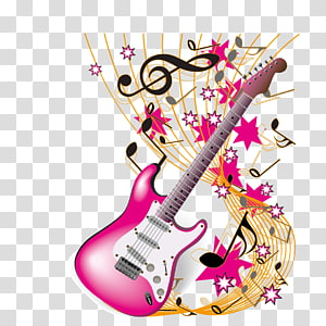 pink electric guitar illustration, Musical instrument Musical note Theme music, guitar and musical notes PNG