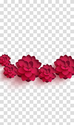several red paper flowers, Chinese New Year Flower Poster, Flowers PNG