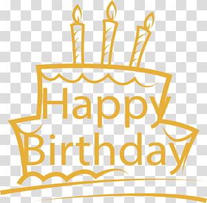 Happy Birthday cake , Yellow hand-painted birthday cake PNG clipart