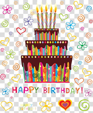multicolored 3-layer birthday cake , happy Birthday PNG clipart