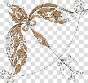 brown and black floral crossbow illustration, Zodiac Astrological sign Scorpion Sagittarius , Sagittarius PNG