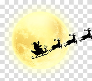santa claus under the moon PNG clipart