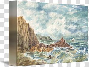 Watercolor painting Canvas Gallery wrap Sea, Ocean shore PNG clipart