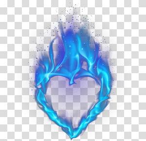 blue flaming heart illustration, Light Heart Flame, Blue heart-shaped flame PNG