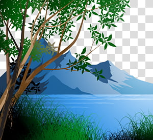 blue mountains , Landscape Drawing Illustration, Forest PNG clipart