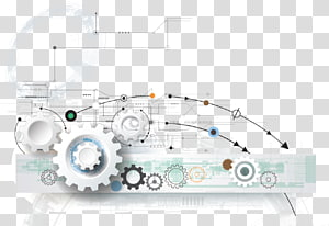 sketch of white tool, Gear Technology High tech , Tech background element PNG