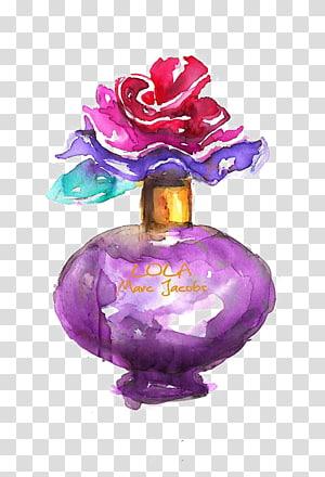 purple Marc Jacobs Lola fragrance bottle art, Watercolor painting Drawing Fashion illustration Perfume Illustration, perfume PNG clipart