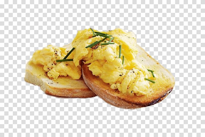 brown bread with fried scrambled egg, Scrambled Eggs on Toast PNG