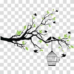 Bird Tree , Wall painting PNG clipart