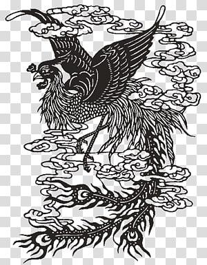 Papercutting Fenghuang Art , Hanten PNG