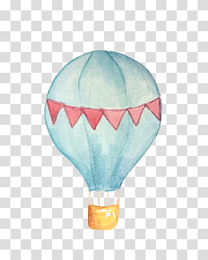 white and blue air balloon, Balloon Painting , hot air balloon PNG clipart