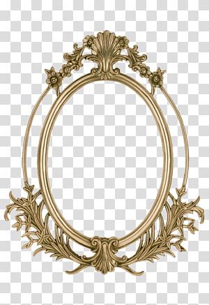 brass-colored filigree frame , frame , Golden frame PNG