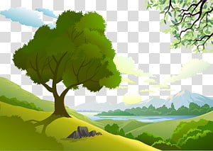 green trees and mountain digital illustration, Landscape design Euclidean Drawing, Forest PNG clipart