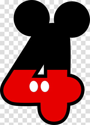 Mickey Mouse-themed number 4 illustration, Mickey Mouse Minnie Mouse , mickey minnie PNG