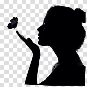 woman blowing her hand, SilhouetteGirl Shadow Woman, Girl side face PNG clipart
