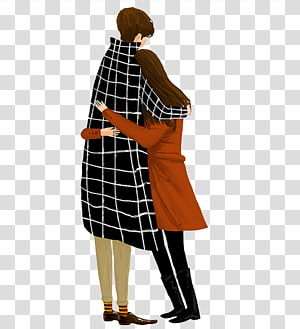 Significant other Hug Romance Falling in love Illustration, Embracing couple PNG