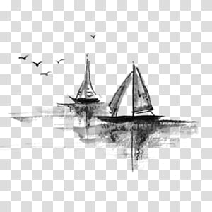 two sloop boat art, Ink wash painting Ink brush Watercolor painting Landscape painting, Free boat to pull the ink material PNG clipart